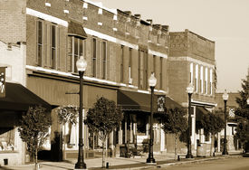 picture of yesteryear  - Yesteryear look of shops and businesses on the main street of Bedford Ohio - JPG