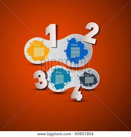One, Two, Three, Four, Vector Paper Progress Steps for Tutorial on Orange Background, Infographics