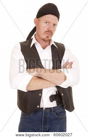 Man Arms Folded Concealed Gun Look
