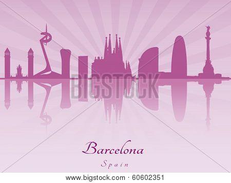 Barcelona Skyline In Purple Radiant Orchid