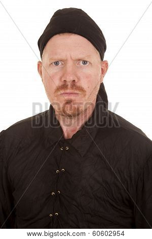 Man Black Shirt And Bandana Serious