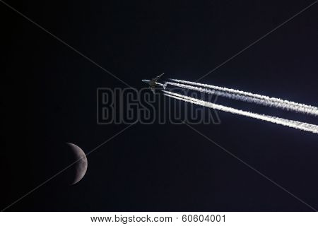 Plane With Moon