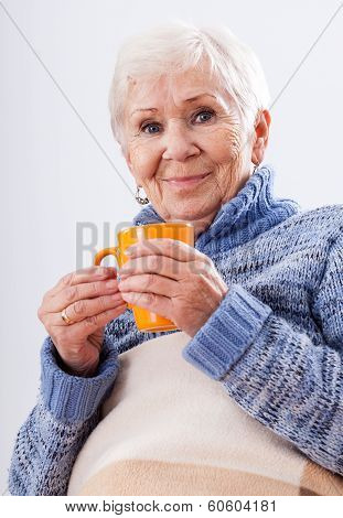 Grandmother With Cup Of Tea
