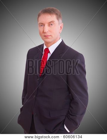Happy businessman standing isolated