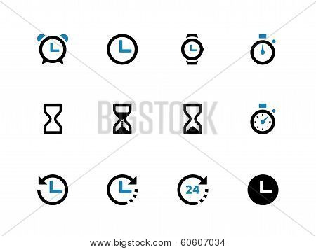 Time and Clock duotone icons on white background.