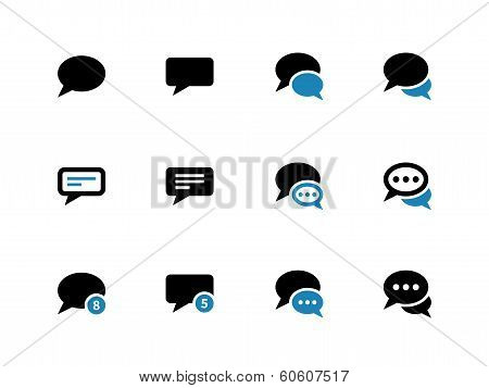 Message bubble duotone icons on white background.
