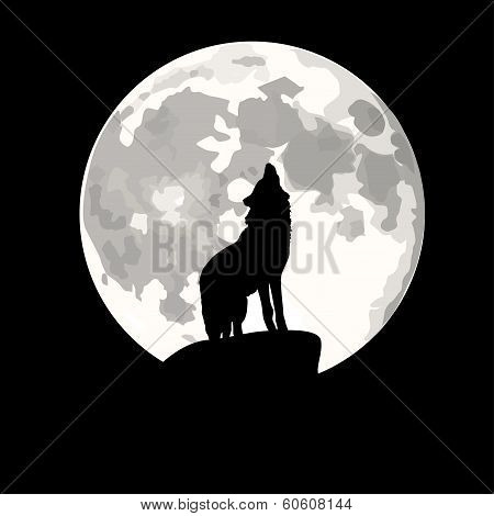 Square Illustration Of Wolf Howling At Moon.