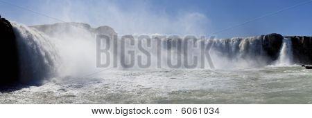 Panorama Of Godafoss Waterfall Iceland
