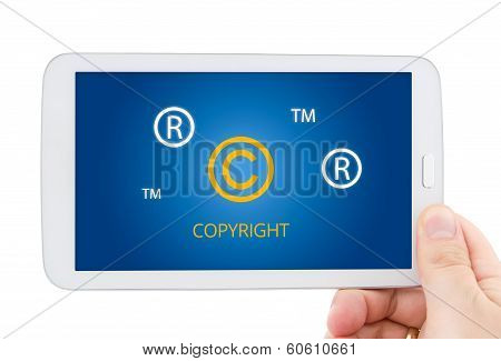 Copyright, Registered, Trademark Symbols On Tablet Pc Display