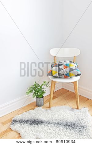 Chair With Bright Cushion And Sheepskin Rug On The Floor