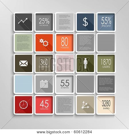 Modern squares colorful info graphic template