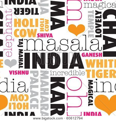 Seamless india icons and travel highlights typography background pattern in vector