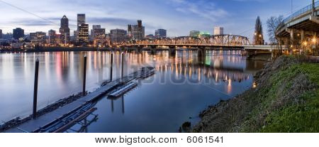 Panorama Of Portland Oregon At Night