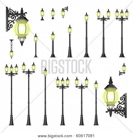 Vector set of street lanterns - isolated