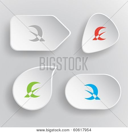 Abstract monetary sign. White flat vector buttons on gray background.