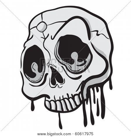 weird looking skull cartoon doodle
