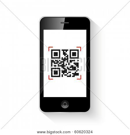 Mobile smartphone qr code vector illustration