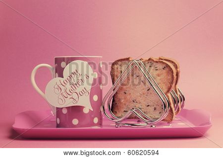Retro vintage old fashion style Happy Mothers Day breakfast with toast and coffee