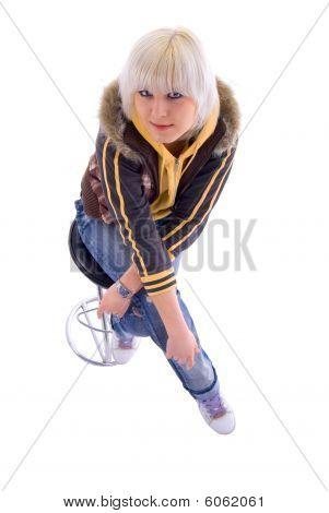 Sitting Blonde Girl. Isolated On White Background