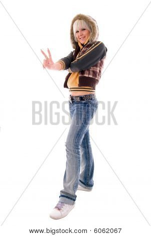 Jeans Blonde Girl. Isolated On White Background.