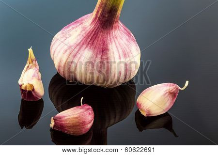 the inclusion of a garlic bulb in the studio. fruits and vegetables have vitamins