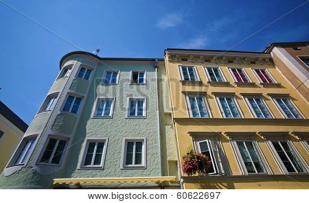 the old town in linz, austria. beautiful houses in the capital of upper austria
