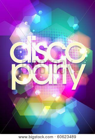 Disco party design on a bokeh background. Eps10.
