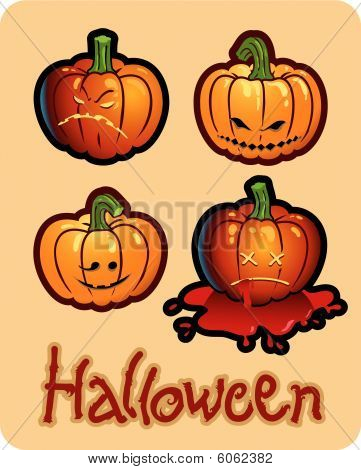 halloween's drawing - four pumpkin heads of Jack-O-Lantern ; one is bleeding