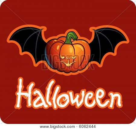 halloween's drawing - a pumpkin head of Jack-O-Lantern with bat's wings
