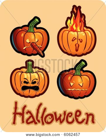 halloween's drawing - four pumpkin heads of Jack-O-Lantern ; one is on fire, another one has a nose