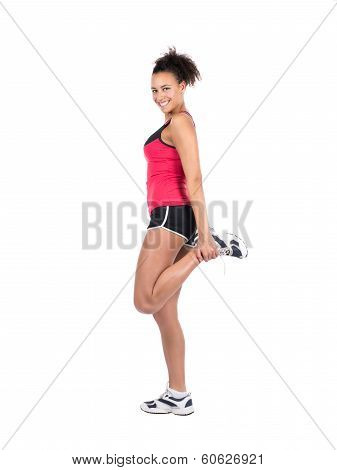 Young Woman Stretches Her Musculature