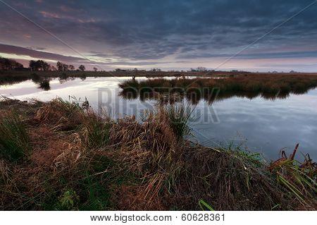 Sunrise Over Swamp In Autumn