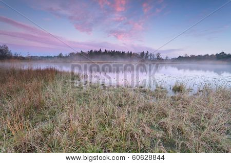 Sunrise Over Lake In Cold Autumn Morning