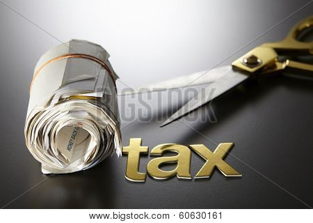 expense receipt ,tax,and scissors