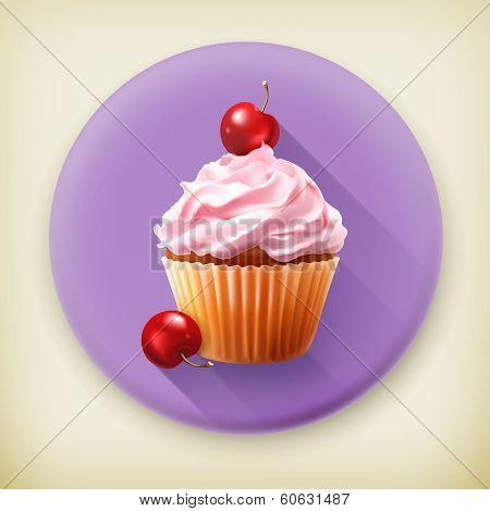 Cherry cupcake long shadow vector icon