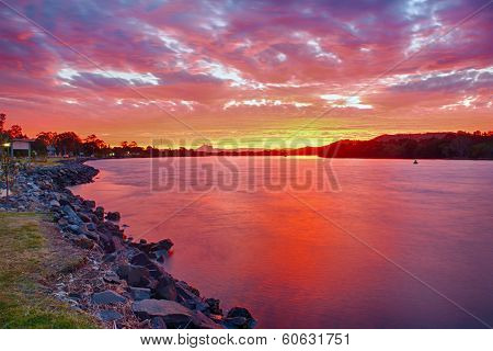 Wonderful sunset over the Tweed River at Chinderah with a Mt. Warning visible on horizon, New South Wales - Australia. HDR