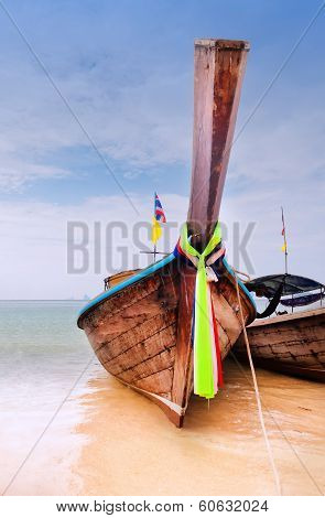 Traditional Longtail Boats On The Railay Beach