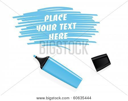 Realistic blue felt tip marker vector with scribbled space for text. Realistic blue marker and cap on white background. Scribbled field for text.