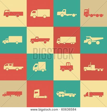 Retro Transport Truck Icons