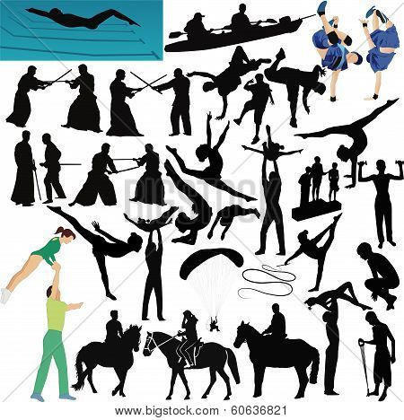 People play sports collection vector isolated