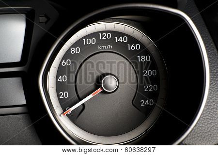 Fragment Of Instrument Panel Of Car Speedometer, Tachometer With Visible Symbols Of Instrument Clust