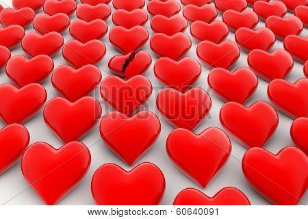 Broken heart sign, loss of love concept