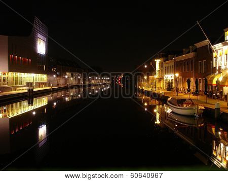 The River Rhine In The Center Of Alphen Aan Den Rijn At Night