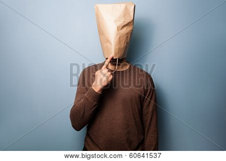 Stupid Young Man With Bag Over His Head