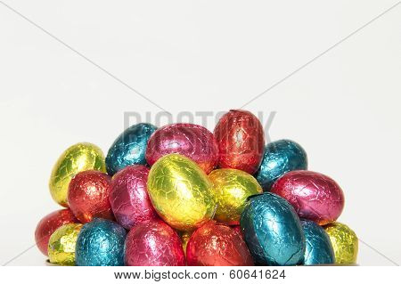 Colored Easter Eggs In Closeup