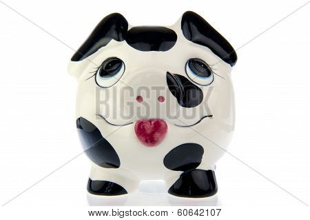 Pig In Black White Cow Print, Frontal