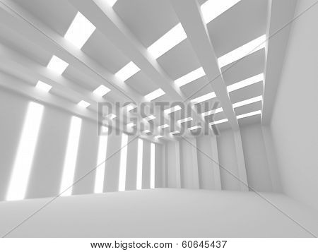 White 3D Abstract Empty Interior With Light Lines