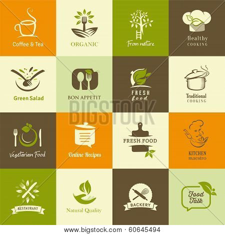 Set of icons for organic and vegetarian food, cook