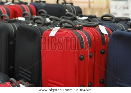 Sale Of Suitcases In A Supermarket