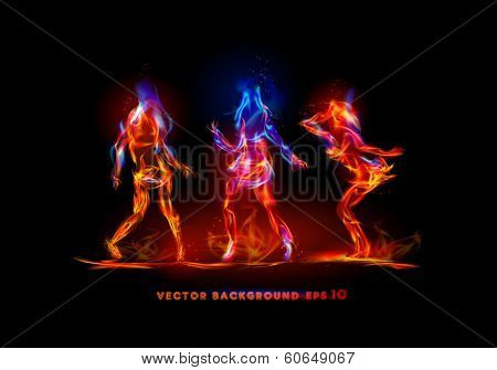 Dancing girls made of fire